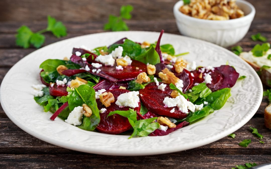 Roasted Beet Salad with Fresh Goat Cheese & Toasted Walnuts