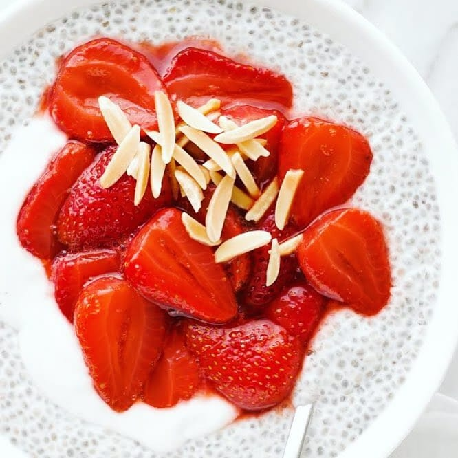 Roasted Strawberry Balsamic Chia Pudding